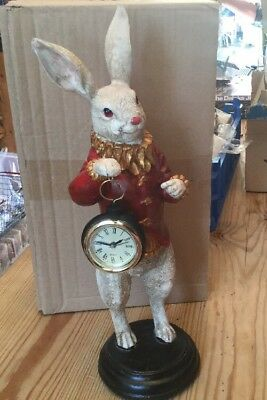 New White Rabbit Clock Figurine Ornament Standing Statue Alice in Wonderland