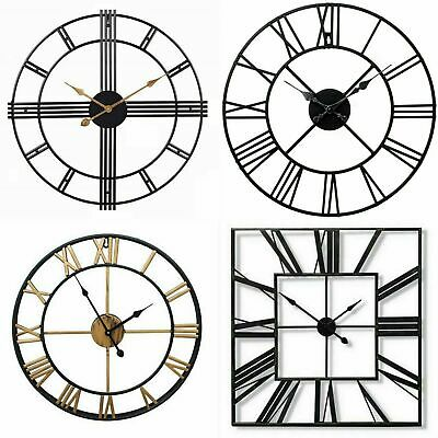 Large 60Cm & 40Cm  Metal Skeleton Black & Gold Roman Numeral Battery Wall Clock