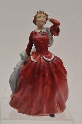 "1948 Royal Doulton Lady Porcelain China Figurine ""blithe Mornin"" W/ Red Dress"