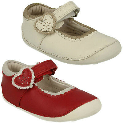 Girls Infant Clarks Ida Heart Hook & Loop Casual Mary Jane First Shoes Kids Size