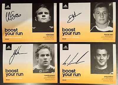 4 X Scottish Rugby Autographed Signed Adidas Boost Launch Event Cards Laidlaw