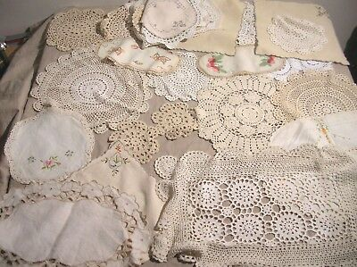 Vintage Doilies Lot Of 29 Appear Hand Made  - Crochet Embroidery Old