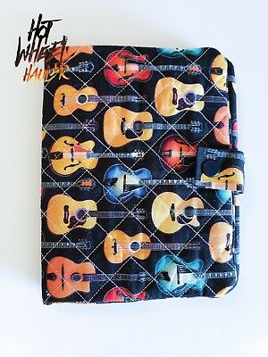 """Handmade Guitar Book Cover Quilted Fabric with Snap Closure 6.5"""" x 5"""""""