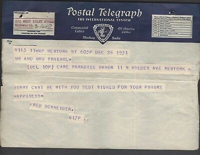 International System POSTAL TELEGRAPH from Dec. 1931 not Western Union