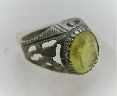 Lovely Antique Silver Ring With Faceted Yellow Glass Insert