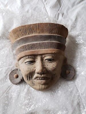 Vintage Terracotta Red Mexico Clay Pottery Aztec Mayan Hanging Mask Art