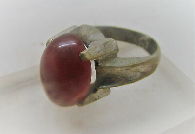 Beautiful Post Medieval Silvered Ring With Carnelian Gem Inset