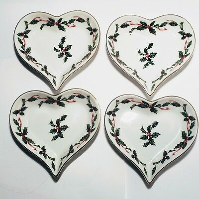 Vtg Lefton Christmas Holly Berries & Ribbon 4 HEART DISHES Holly Ribbons #03043