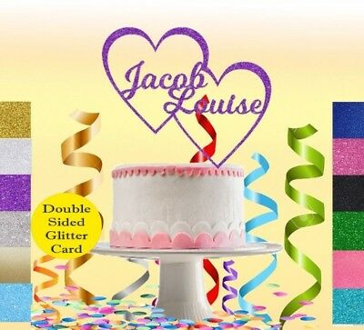 Custom Personalised Glitter Cake Topper Heart Any Name Birthday Party Wedding