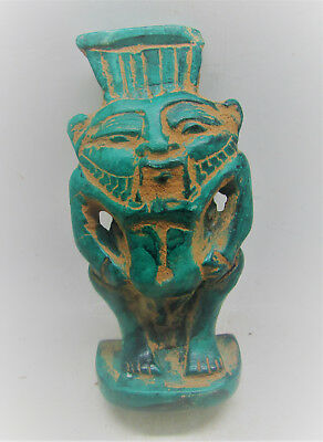Beautiful Ancient Egyptian Glazed Faience Figure Of Bes