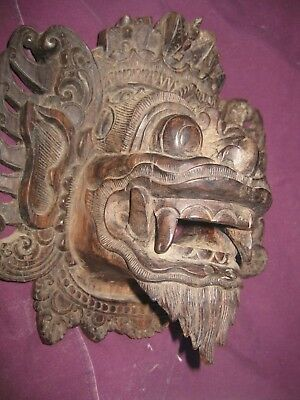 Barong Mask Dark Wood Incredible Carving. Vintage (Not Painted) OLD Balinese