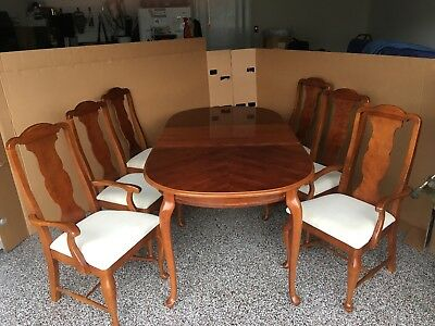 Formal Cherry Dining Room Set Table Chairs Leaf Pad
