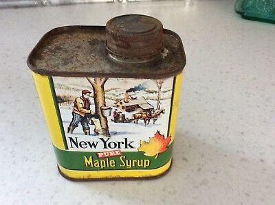 RARE Vintage New York. Maple Syrup PINT SIZE. Advertising Can Collectible