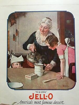 1923 Norman Rockwell JELLO Vintage Print Ad Perfect Chocolate Cake Baking Powder