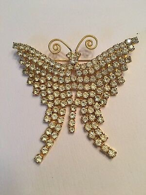 Gorgeous Vintage Rhinestone BUTTERFLY PIN Large Brooch Gold Tone Mesh Dangle