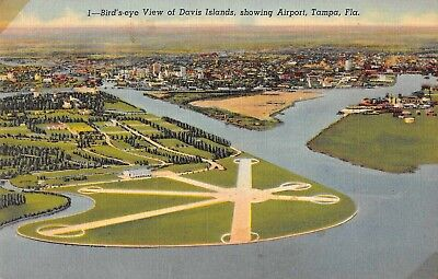 Tampa Florida birds eye view Davis Islands and airport linen antique pc (Z51093)