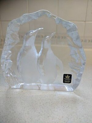 Mats Jonasson Crystal Penguins Signed Lead Crystal Paperweight Hand Etched Art