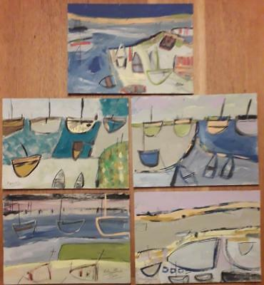 Fine Collection Of 5  Cornish School Harbour/boat Studies St Ives/hayle/penzance
