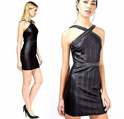TOPSHOP black shiny bodycon dress faux leather and chain details 12 UK 40EUR 8US