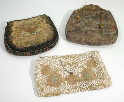 3 Antique / Vintage Evening Bags - Needlepoint / Beadwork / Art Deco.