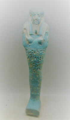 Circa 320-5Bc Ptolemaic Egypt Glazed Faience Ushabti Shabti With Heiroglyphics