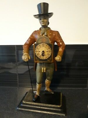 Rare Vintage Dutch Figure Clock Seller Man Of Time. Schwarzwald black forest