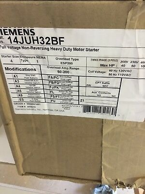NEW Furnas Siemens Nema Size 4  Motor Starter, Cat No. 14JUH32BF In Box