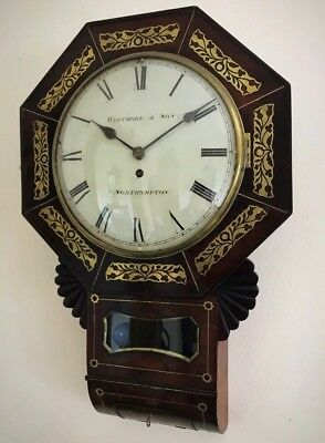 Whitmore Northampton Regency Superb Brass Inlaid Convex Dial Wall Clock