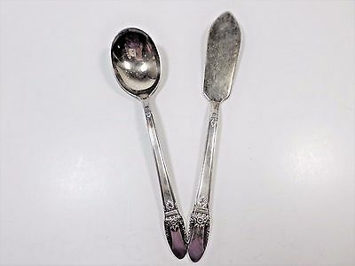 1847 Rogers Bros silverplate flatware 2 pc butter knife sugar spoon first love