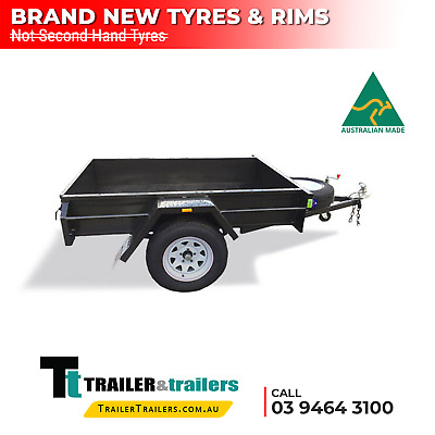7x4 SINGLE AXLE DOMESTIC H/DUTY BOX TRAILER | SMOOTH FLOOR | FIXED FRONT