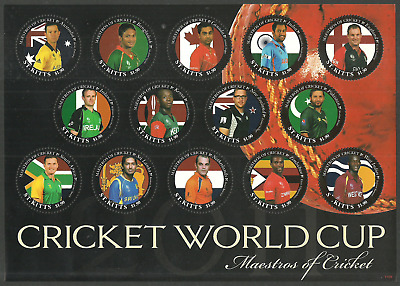 St Kitts 2011 Sport Cricket World Cup Error Designs & Missing T M/sheet Mnh