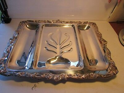 "ANTIQUE VERY LARGE ENGLISH SILVER PLATED FOOTED CARVING TRAY/PLATTER 19"" x 15"""