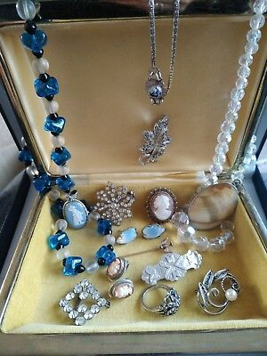 Victorian, vintage, Art deco Jewellery brooches necklaces paste celluloid silver