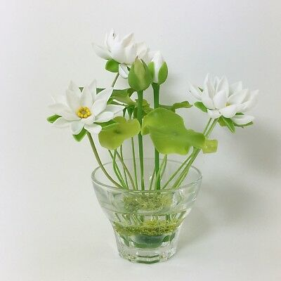 White Lotus Water Lily Flower Miniature Handmade Clay Plant With Glass Pot