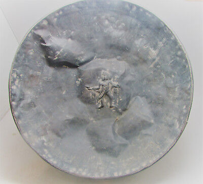 Scarce Ancient Persian Silver Bowl Warrior Depiction & Faces On Outside
