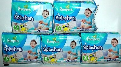 5 Packs Pampers Splashers Disposable Swim Pants Diapers Small 13-24 Lbs  20 Pcs