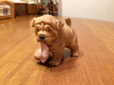 Adorable Ceramic Shar Pei With Blanket In Mouth Figurine - H J & G Puppy Pals