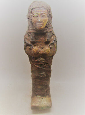 Beautiful Ancient Egyptian Glazed Faience Ushabti Shabti.