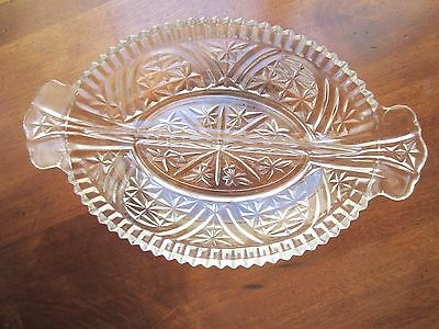 Collectible Vintage Oval Divided Clear Cut Pressed glass Relish Tray w/handles