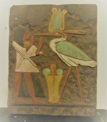 Very Rare Ancient Egyptian Stone Relief Panel Fragment Heiroglyphs And Ibis