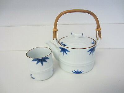 Vintage Japanese Blue And White Porcelain Teapot W/ One Tea Cup, Maker Signed