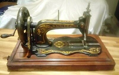 Antique Singer New Family 12K Hand Crank Fiddle Base Sewing Machine + Case 1887