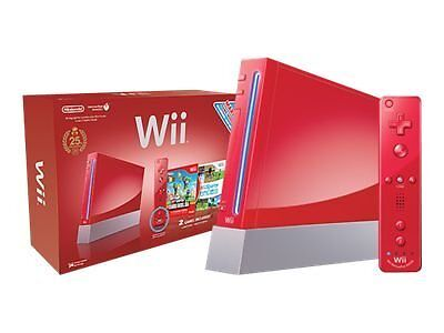 Nintendo Red Wii Console with New Super Mario Bros. - Gamecube Compatible