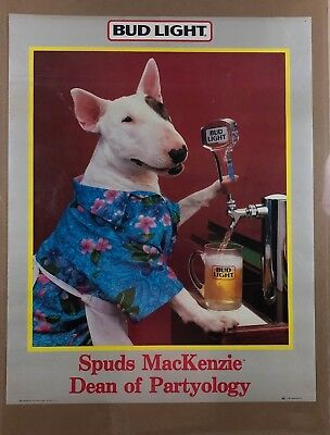 Spuds Mackenzie Vintage Poster Advertisement BEER BUD LIGHT COMEDY JOKE DOG 80'S