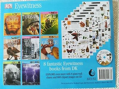 Ref bks, DK Eyewitness. CD, chart. Weather, Dinosaurs, Insects,Scientists,etc