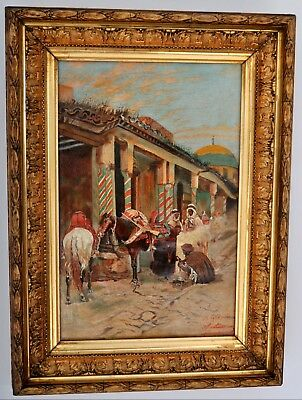 Antique French Orientalist Arab Morrocan Islamic horse oil painting signed 1880