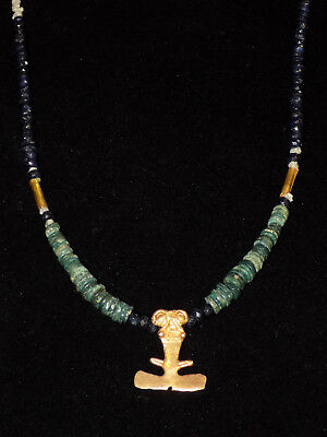 Pre-Columbian Gold Frog Pendant Necklace, Blue Jade Disc Beads and Sapphires