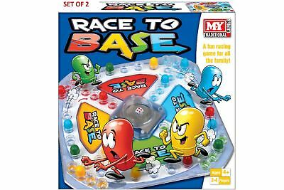 X2 Race To Base Pop A Dice Frustration Great Family Fun Kids Board Game New