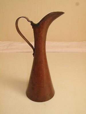Antique Hand Hammered Copper Pitcher Flower Vase Signed - Roycroft Arts & Crafts