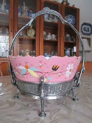 Reed & Baton Silver Plate Aesthetic Zoomorphic Brides Basketw/Pink Glass Bowl